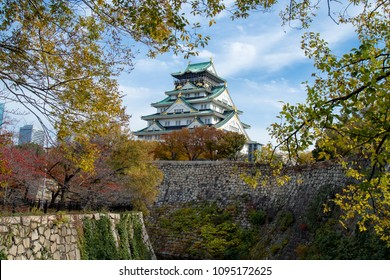 Osaka castle tower in japan, in Autumn, maple leaf colour change, very beautiful design on architecture