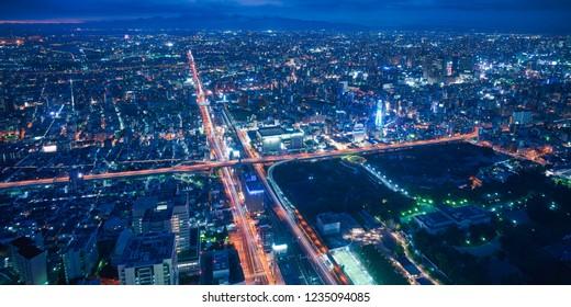 Osaka city skyline - asia modern business city, cityscape birds eye view at night, shot in Abeno harukas, Osaka, Japan.