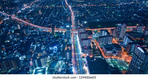 Osaka city skyline - asia modern business city, cityscape birds eye view at night, shot in Abeno harukas, Osaka, Japan.