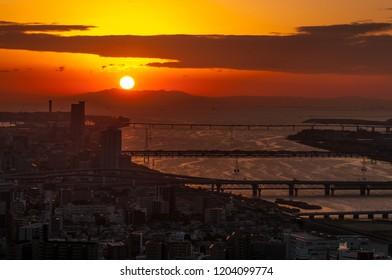 Osaka city in sunset, Japan.