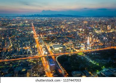 Osaka city view with twilight sky taken from Harukas 300 Observatory deck (top of Abeno Harukas), Osaka, Japan, July 6th 2016