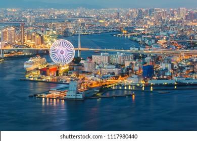 Osaka cityscape beautiful night view of Osaka Bay in Osaka, Japan. view from cosmo tower.