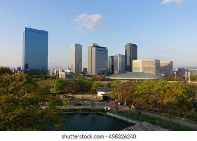 Osaka cityscape with stadium