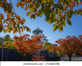 Osaka, Japan - 10 NOV 2019: Osaka Castle park in autumn