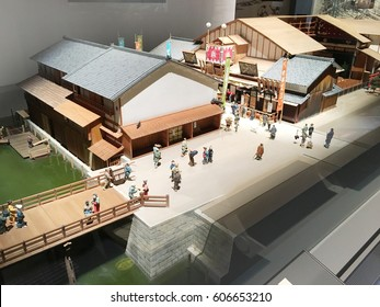 OSAKA, JAPAN, 12 Jan 2017 :  Miniature model of 1800's Ancient village during the Age of Osaka. show in The Osaka Museum of History.