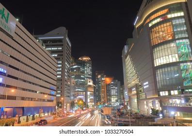OSAKA JAPAN - 13 NOVEMBER, 2017: Osaka Umeda downtown skyscrapers night cityscape in Osaka Japan