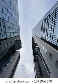 Osaka, Japan - 15 February 2020 : A view of two buildings from bottom.