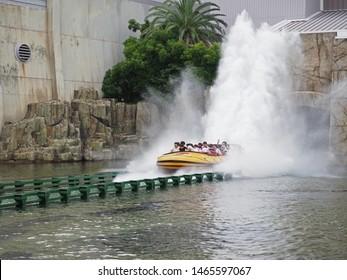 Osaka, Japan. 16th July 2019. People enjoying water splash of Jurassic park ride at Universal Studio, Japan.