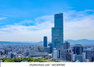 OSAKA JAPAN - 17 June, 2017: Osaka city view from Tsutenkaku Tower.