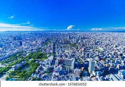 Osaka, Osaka / Japan - 2019.8.8 : Landscape of Osaka city bird view in Japan