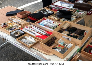 OSAKA, JAPAN, 22 March 2018 : various vintage items shop is opened and sell in flea market.