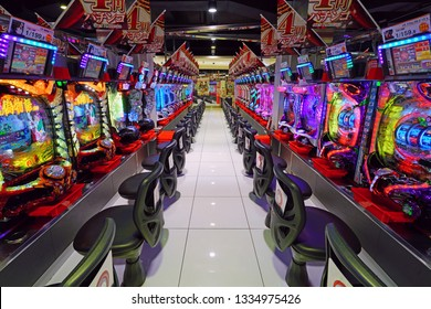 OSAKA, JAPAN -26 FEB 2019- View of a pachinko slot game parlor in Osaka, Japan.