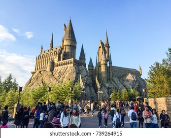 Osaka Japan - 4 Nov 2016: Vising the Hogwarts, Harry Potter zone, USJ, during autumn time