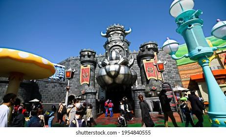 OSAKA, JAPAN - Apr 10, 2021 : Scenery of the entrance to Koopa Castle in Nintendo World.Super Nintendo World is a themed area at Universal Studios Japan.