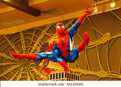 OSAKA, JAPAN - APR 11, 2017 : Photo of the Amazing Adventure of Spider Man, one of the most famous attraction rides at Universal Studios JAPAN.