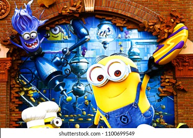 "OSAKA, JAPAN - Apr 13, 2018 : Statue of ""HAPPY MINION"", located in Universal Studios Japan, Osaka, Japan. Minions are famous character from Despicable Me animation."
