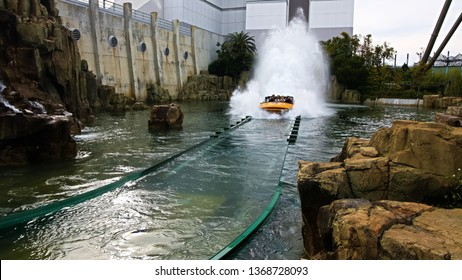 OSAKA, JAPAN - Apr 13, 2019: The ride plaything in Jurassic Park the Ride at Universal Studios Japan.