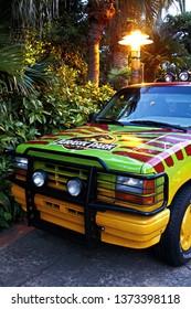 Osaka, Japan - Apr 13, 2019: 1993 Ford Explorer at Jurassic Park the RIDE entrance in Universal Studios Japan.