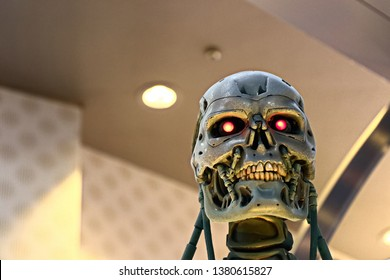 OSAKA, JAPAN - Apr 13, 2019 : Photo of the T-800 End skeleton from the Terminator 3D,Terminator 6 Dark Fate 2019 coming soon.