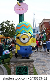 OSAKA, JAPAN - Apr 13, 2019 : View of  HAPPY MINION statue, located in Universal Studios Japan. Minions are famous character from Despicable Me animation.