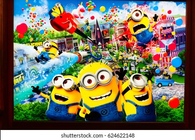 "OSAKA, JAPAN - APR 14, 2017 : Photo of ""MINION PARK"" information wall poster, located in Universal Studios JAPAN, Osaka, Japan. Minion Park is 21 Apr 2017 open."