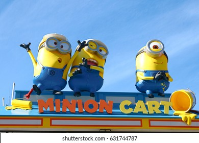 "OSAKA, JAPAN - Apr 21, 2017 : Photo of ""HAPPY MINION MART"" shop, selling Minion Goods, located in Universal Studios JAPAN, Osaka, Japan. Minions are famous character from Despicable Me animation."