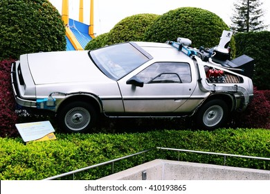 OSAKA, JAPAN - Apr 23, 2016 : Use movie of Ready Player One. Photo of De Lorean from Back to the Future at Universal Studios Japan.