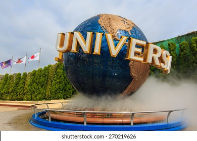 Osaka, Japan - Apr 9:  Universal Globe outside the Universal Studios Theme Park in Osaka, Japan on Apr 9, 2015. The theme park has many attractions based on the film industry.
