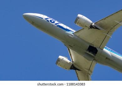 OSAKA, JAPAN - APR.28, 2018: Boeing 787-8 Dreamliner taking off from the Itami International Airport in Osaka, Japan.