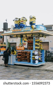 OSAKA, JAPAN - APRIL 11, 2019: Photo of Minion shop, selling Minion Goods, located in Universal Studios JAPAN in Osaka, Japan. Minions are famous character from Despicable Me animation.