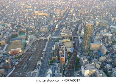 OSAKA, JAPAN -  April 15, 2015 : Cityscape night view of Osaka, The second largest city in Japan. landscape from HARUKAS 300
