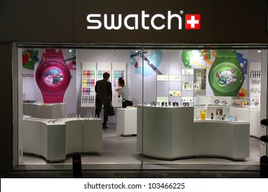 OSAKA, JAPAN - APRIL 24: Swatch store on April 24, 2012 in Osaka, Japan. Swatch group is a profitable watch manufacturer with profit of 1.074 billion CHF (2010). It employs 24,240 people (2010 avg).