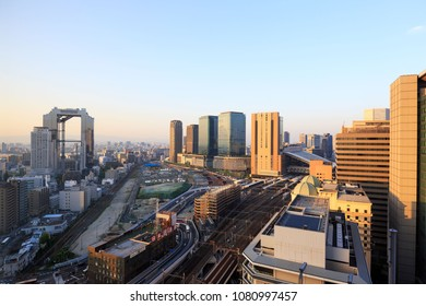 Osaka, Japan - April 28, 2018: Construction underway near Osaka Station