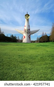 OSAKA, JAPAN - APRIL 5 : Tower of the sun in Banpaku Park in Osaka taken April 5, 2016. This is one of the most popular tourist spot and  landmark of Osaka located in the Expo Commemoration Park.