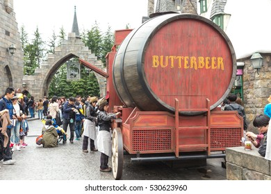 OSAKA, JAPAN - APRIL 8, 2016 :  Photo of Oak Barrel Containing BUTTERBEER, famous drink from Harry Potter containing 0% alcohol, at The Wizarding World of Harry Potter, Universal Studio JAPAN, Osaka.