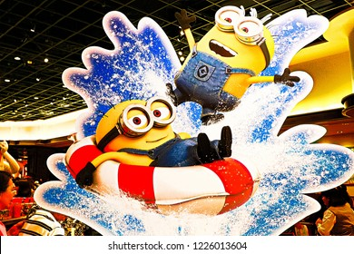 "OSAKA, JAPAN - Aug 03, 2018 : Statue of ""HAPPY MINION"", located in Universal Studios Japan, Osaka, Japan. Minions are famous character from Despicable Me animation."