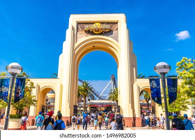 OSAKA, JAPAN - AUGUST 10, 2019: Entrance of Universal Studios Japan(USJ) ,very popular theme park located in Osaka Bay. The park has a great variety of attractions and entertainment.