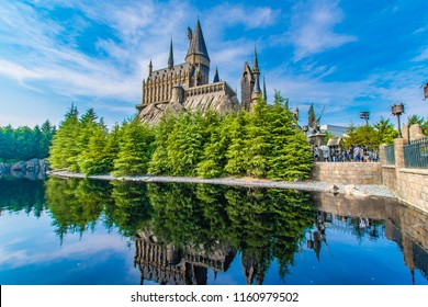 OSAKA, JAPAN - AUGUST 12, 2018: Photo of Hogwarts Castle. The Wizarding World of Harry Potter in Universal Studios Japan. Universal Studios Japan is a fun and famous theme park in Osaka, Japan.