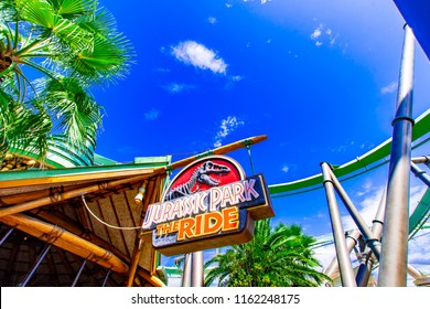 OSAKA, JAPAN - AUGUST 12, 2018: Jurassic park the ride sign board in Jurassic Park Section at Universal Studios Japan. Universal Studios Japan is a fun and famous theme park in Japan.