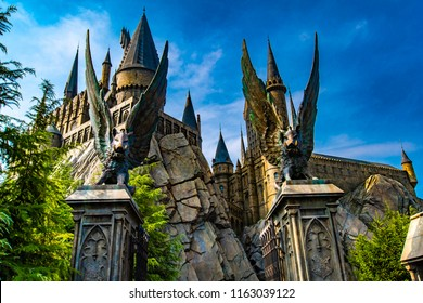 OSAKA, JAPAN - AUGUST 12, 2018: Photo of Hogwarts Castle. The Wizarding World of Harry Potter in Universal Studios Japan. Universal Studios Japan is a fun and famous theme park in Osaka, Japan.