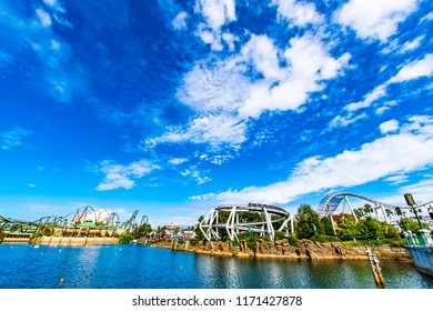 OSAKA, JAPAN - AUGUST 12, 2018: The LAGOON at the HOLLYWOOD AREA in Universal Studios Japan under clear blue sky. Universal Studios Japan is a fun and famous theme park in Japan.