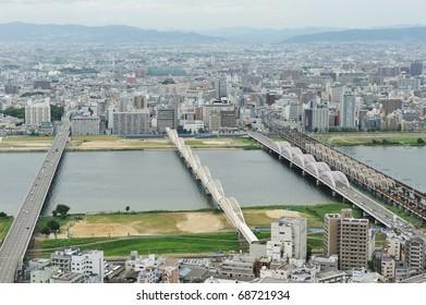 OSAKA, JAPAN - CIRCA JULY 2010 : Cityscape of Umeda district circa July 2010 in Osaka, Japan.