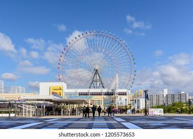Osaka, Japan - Dec 10, 2017 : Tempozan Harbor Village is the one of Osaka's major attractions. There is a KAIYUKAN Aquarium, shopping center, legoland amusement park and Ferris wheel.