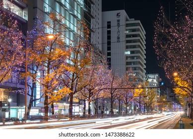 Osaka, Japan - Dec 14 2018 : Festival of the Lights in Osaka. The winter illumination events, Midosuji Illumination and Hikari Renaissance. popular tourist attraction, travel destination for vacation