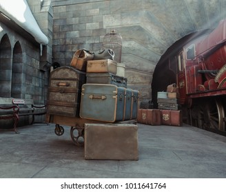 Osaka, Japan - DEC 19, 2017: The Wizarding World of Harry Potter in Universal Studios Japan.Universal Studios Japan is a theme park in Osaka, Japan.