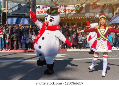 OSAKA, JAPAN - DEC 2 2017: Snowman parade show in Christmas show at Universal Studios japan.
