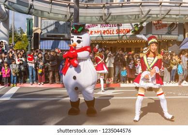 OSAKA, JAPAN - DEC 2 2017: Snowman parade show in Christmas show at Universal Studios japan.