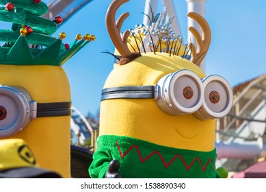 OSAKA, JAPAN - DEC 2 2017: Minions parade show in various costume with many people watching in Universal Studios theme park.Snowman parade show in Christmas show at Universal Studios japan