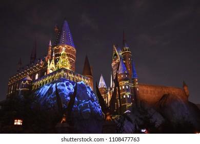 OSAKA, JAPAN - DEC 23, 2017 : Hogwarts Castle are illuminated with clear sky night as background