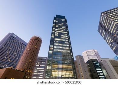 Osaka, Japan - December 1, 2015: Kita District in Osaka The Kita district, also known as Umeda, is one of Osaka's two main city centers.